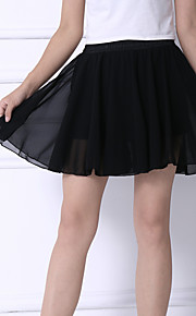 Women's Solid Color and Flower Printing Chiffon Skirts