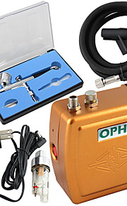 OPHIR Portable 100V-240V Airbrush Compressor Kit with Dual-Action Airbrush for Tattoo Makeup
