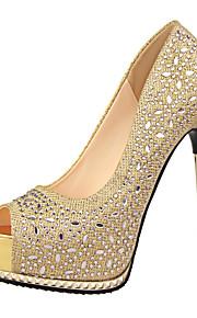 Chaussures Femme-Bureau & Travail / Décontracté-Noir / Rose / Rouge / Argent / Gris / Or-Talon Aiguille-Talons / Bout Ouvert / A Plateau