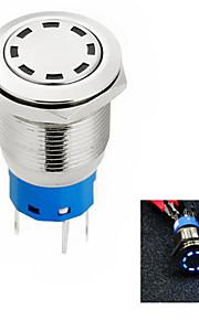 jtron diafragma 19mm auto-knop switch off-on / zelfsluitende wit / blauw / rood licht - zilver (12v)