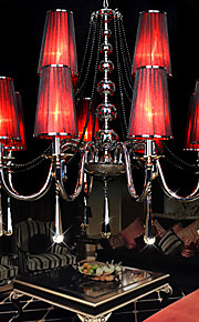 220V Max 40W Crystal Chandelier/ Romantic Pendant Light/Electroplated Metal/Bedroom / Red Lampshade/12 Lights