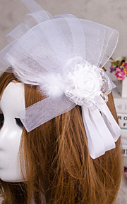 Flower Shape Veil Fascinators Hat Hair Jewelry for Wedding Party