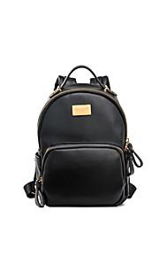 DAVIDJONES/Women PU / leatherette Saddle Backpack -White / Pink / Purple / Blue / Red / Gray / Black