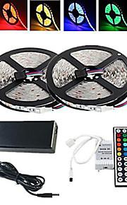 10m 150x5050rgb imperméable à l'eau conduit 44key lumière de bande (1bin 2) télécommande 12v / 6a au / eu / uk / us alimentation