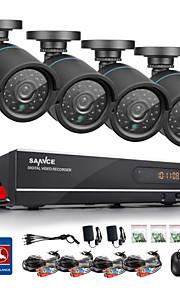 sannce® 720p AHD 8-kanals vedio cctv dvr sort bullet sikkerhed kamera hjem overvågning kamerasystem 1TB hdd