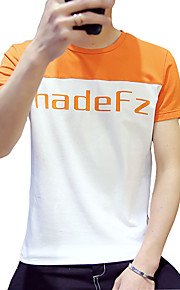 Kortærmet Patchwork Mænds T-shirt Fritid Bomuld