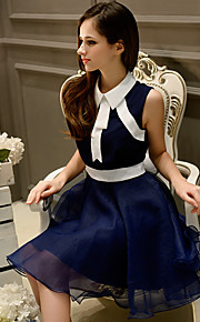Women's Simple / Street chic Color Block A Line Dress,Shirt Collar Above Knee Polyester