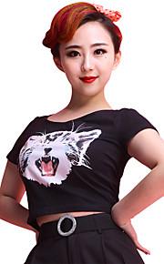 Latin Dance Tops Women's Training Cotton Animal Print 1 Piece Black