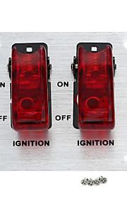 jtron zilver aluminium flip-up ontsteking 2-bedekte-schakelpaneel voor automatisch herinrichting - (rood&zilver)
