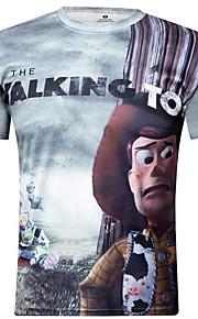 Camiseta De los hombres Casual Letra-Poliéster-Manga Corta
