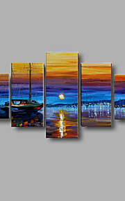 Hand-painted Autumn Scenery Wall Art Home Decor Thick Oil Painting on Canvas 5pcs/set With Stretched Frame