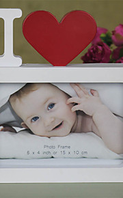 "I Love You Photo Frame Red Heart Shaped With One Picture 6x4"" For New Baby And Sweet Lover Gifts"