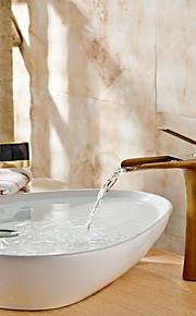 洗面ボウル シングルハンドルつの穴 in アンティーク真鍮 バスルームのシンクの蛇口