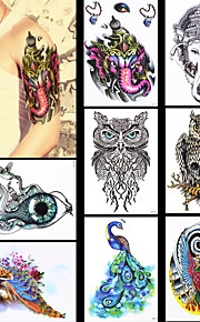 8PCS Waterproof Women Men Body Art Indian Elephant God Peacock Owl Animals Jewelry Pattern Design