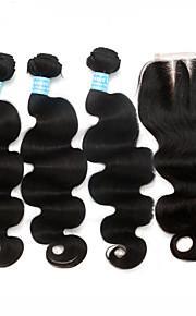 5x5 6a pelo virginal malasio con la onda del cuerpo del cierre del pelo humano 4pcs mucho con el cierre de primera calidad color natural