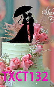Kakepynt Ikke-personalisert Klassisk Par Akryl Bryllup Svart Klassisk Tema 1 OPP