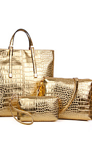 Women-Casual / Office & Career / Shopping-PU-Tote-Gold / Silver / Black