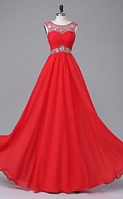 ts couture® formale sera A-Line chiffon Scoop pavimento-lunghezza / raso stretch con perline / drappeggio
