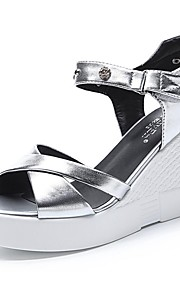 Черный / Серебристый-Женская обувь-Для офиса / Для праздника / На каждый день / Для вечеринки / ужина-Синтетика-На платформе-С открытым