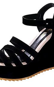 Черный-Женская обувь-Для прогулок / На каждый день-Дерматин-На танкетке-На танкетке-Сандалии