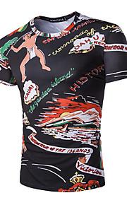 남성의 캐쥬얼 / 스포츠 티셔츠 짧은 소매 프린트 면