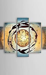 Håndmalte Landskap Klassisk / Europeisk Stil / Moderne,Fem Paneler Hang malte oljemaleri