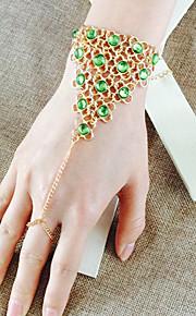 Luxury Green Crystal Retro Punk Metal Scales Bracelet