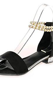 Черный / Серый-Женская обувь-Для прогулок / На каждый день-Флис-На низком каблуке-Удобная обувь-Сандалии