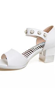 Белый-Женская обувь-Для праздника / На каждый день-Дерматин-На толстом каблуке-На каблуках / С открытым носком / С ремешком на лодыжке-