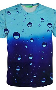 Men's Short Sleeve T-Shirt,Polyester Sport Print