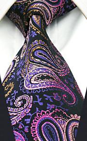 Men's 100% Silk  Tie Purple Paisley  Business Necktie