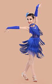 Latin Dance Dresses Children's Performance Spandex / Polyester Backless Tassel(s) Dance Costumes