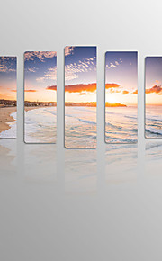 Sunrise Over Beach on Canvas wood Framed 5 Panels Ready to hang for Living Decor