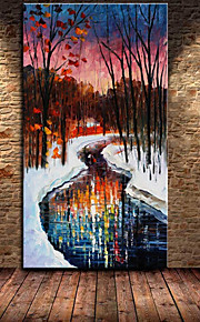 Handpainted Modern Wall Art Picture Winter Scenery Painting Home Decor Oil Paintings Abstraction Hang Picture