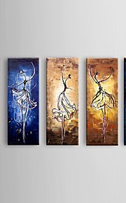 Peint à la main Abstrait Modern / Pastoral / Style européen,Cinq Panneaux Peinture à l'huile Hang-peint