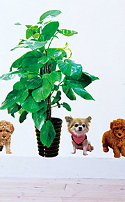 5 Lovely Dogs With Potted Home Decor DIY Drawing Room Wall Stickers Wall Decor