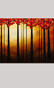 Hand-Painted Red Tree Landscape Knife Oil Painting Home Office Decor With Stretched Frame