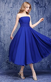 Ankle-length Chiffon Bridesmaid Dress A-line Strapless with