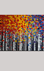 Hand-Painted Oil Painting Birch Tree Landscape Knife Thick Texture Home Office Decor With Stretched Frame