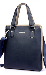 Men's Casual Solid Leather Briefcase Crossbody Bag