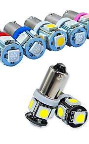 Jiawen 10pcs / lot BA9S 0,8 W 5x5050smd 55lm voor auto-lamp (12V)