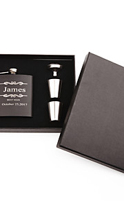 Personalized Wedding Party Gifts, Stainless Steel Engraved Wedding Flasks Set,Bridesmaid Gifts,Groomsmen Gifts(6 oz)