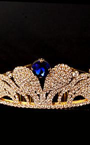 Mulheres Strass Capacete-Casamento / Ocasião Especial Tiaras 1 Peça Azul Redonde 12cm-15cm  adjustable