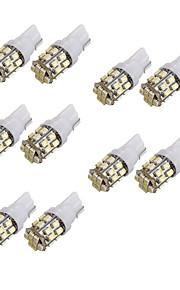10stk t10 24smd 1206 hvide bil kile LED lys auto nummerplade clearance lampe læsning pære (DC12V)
