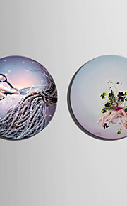 E-HOME® Stretched Circular canvas Art Fantasy On The Hand Decoration Painting One Pcs
