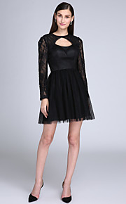 TS Couture® Cocktail Party Dress - Little Black Dress A-line Jewel Short / Mini Lace / Satin / Tulle with Lace
