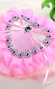 Lace Rhinestone Heart Shape Small Ring Pillow