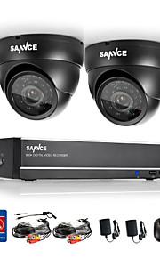 sannce® 4 canais gravador de vídeo vigilância dvr sistema de CCTV 800tvl câmeras dome completo 960H CCTV