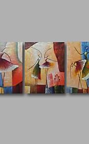 Maalattu Abstrakti öljymaalauksia,Moderni 3 paneeli Kanvas Hang-Painted öljymaalaus For Kodinsisustus