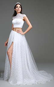Lanting Bride A-line Wedding Dress Sweep / Brush Train High Neck Lace / Organza / Satin with Button / Split